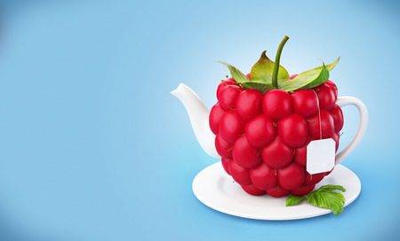 Raspberry teapot  Healthy food  Raspberry drink  photo
