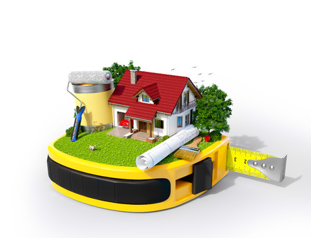 out in town: House with the yard and construction equipment on a tape measure  Construction concept