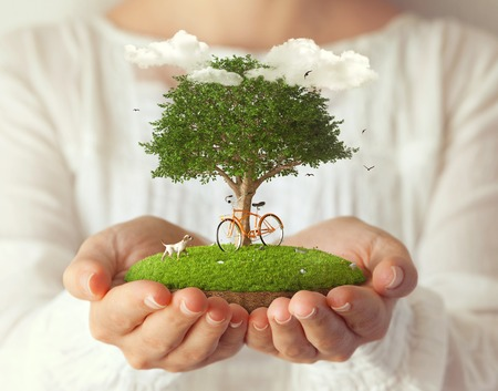 fantasy woman: Small fantastic island with a bicycle under the tree in women s hands