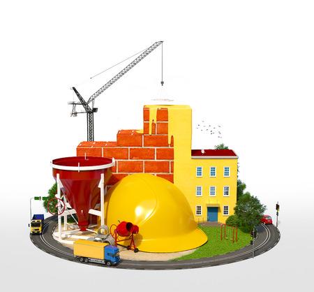 建設現場。 建物の建設のコンセプト