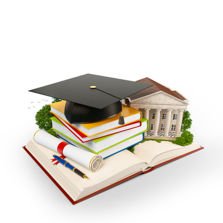 Mortarboard, books and university building on a opened book. Education. Isolated photo