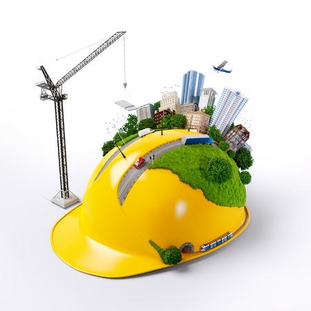 建設ヘルメットの都市。