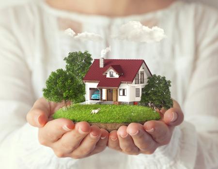 Kleine fantastisch eiland met een huis en achtertuin bij vrouwen Stockfoto - 29035326