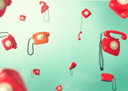 Phones flying in weightlessness  Vintage telephones   photo