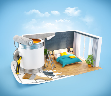 Walls of modern bedroom on a plan  Interior design concept photo
