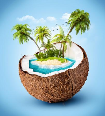 코코넛 여행입니다, 휴가 열대 섬