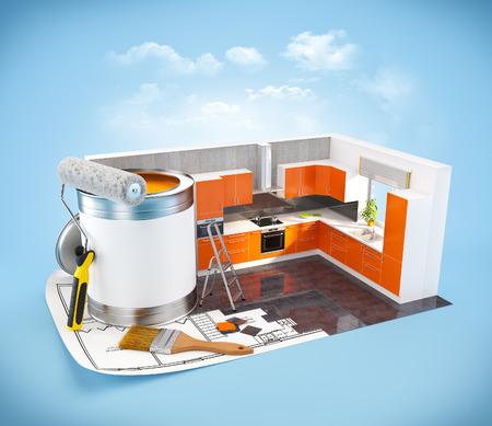 Walls of  a kitchen on a plan. Interior design concept. Modern kitchen photo