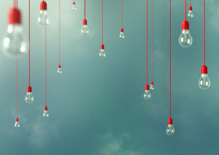 chandeliers: Photo of Hanging light bulbs with depth of field. Modern art