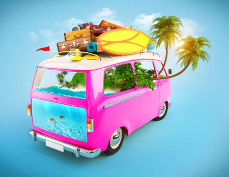 exotic car: Creative Illustration of traveling theme. Pink Minivan with luggage and tropical island inside. Underwater world.