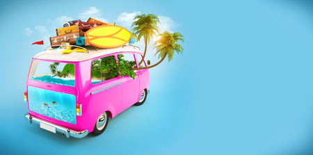 dive trip: Creative Illustration of traveling theme. Pink Minivan with luggage and tropical island inside. Underwater world.