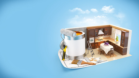 Walls of  a kitchen on a plan. Interior design concept. Wooden kitchen photo