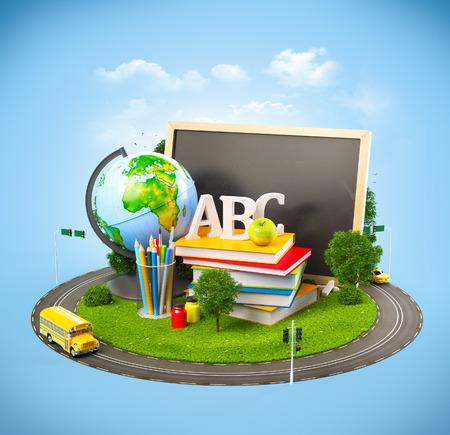 教育: 学校のコンセプトに戻って変わった。教育のテーマのイラスト 写真素材