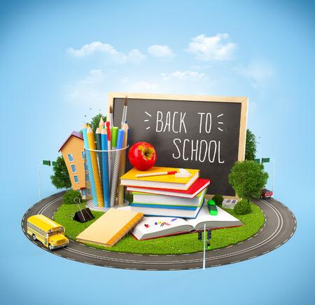 Volver inusual al concepto de escuela. Ilustración del tema de la educación