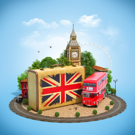 Old suitcase with british flag, Big Ben, double decker and red phone booth on a square. Unusual traveling concept. Banco de Imagens