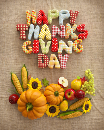 Autumn Thanksgiving Day composition with handmade text, fruits and vegetables on canvas background. Unusual thanksgiving day illustration. Top view illustration