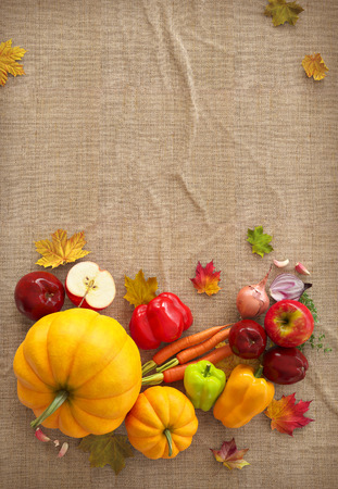 Autumn Thanksgiving Day composition fruits and vegetables on canvas background. Unusual thanksgiving day illustration. Top view illustration