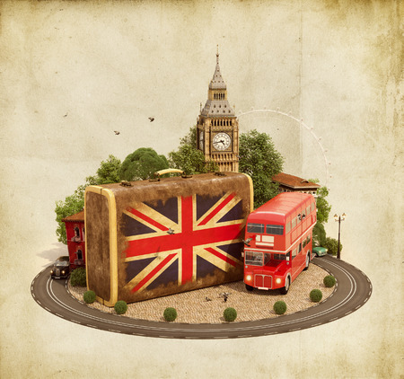 britain flag: Old suitcase with british flag, Big Ben, double decker and red phone booth on a square. Unusual traveling concept. Stock Photo