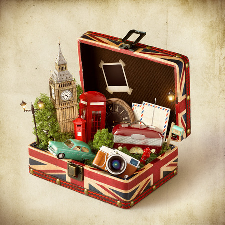 suitcases: Opened box with british flag and famous monuments of London inside. Unusual traveling concept.