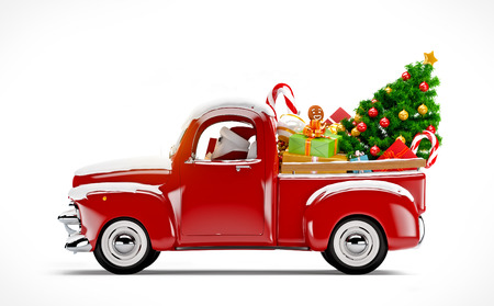 christmas snow: Christmas background. Pickup with christmas tree and gifts. Merry Christmas and Happy New Year
