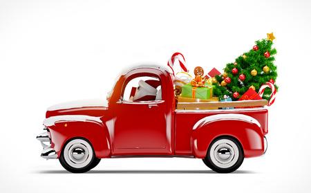 kerst interieur: Kerst achtergrond. Pick-up met kerstboom en geschenken. Vrolijk Kerstfeest en Gelukkig Nieuwjaar