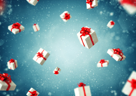 unusual valentine: White gift boxes with red ribbon at blue background. Christmas illustration