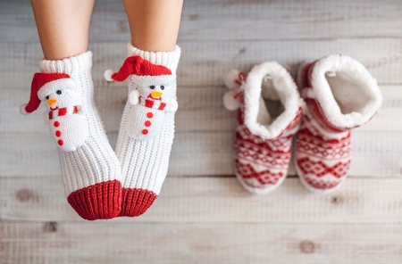 christmas sock: Cute photo of woman Stock Photo