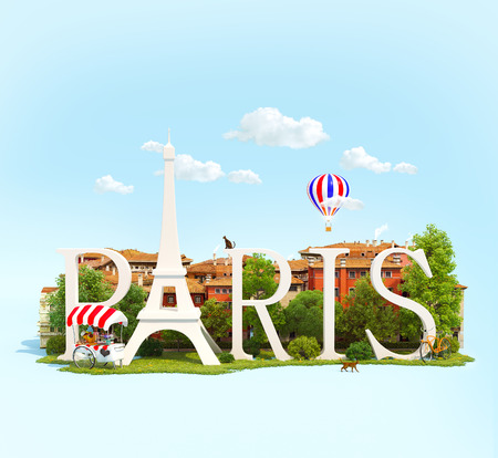 Word Paris on grass in the park with buildings of European city. Unusual traveling concept photo
