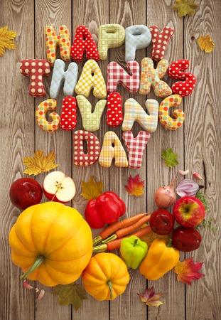 Herbst Thanksgiving Day Zusammensetzung mit handgemachten Text, Obst und Gemüse auf Holzuntergrund. Ungewöhnliche erntedanktag Illustration. Aufsicht