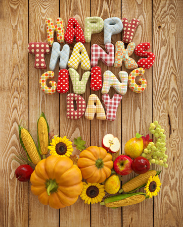 Autumn Thanksgiving Day composition with handmade text, fruits and vegetables on wooden background. Unusual thanksgiving day illustration. Top view illustration