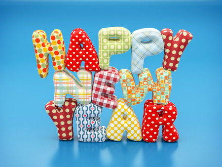 Colorful stitched letters. Happy new year text on blue background photo
