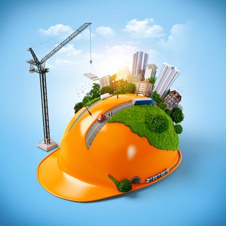 City on the construction helmet. Unusual construction concept