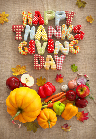 Autumn Thanksgiving Day composition with handmade text, fruits and vegetables on canvas background. Unusual thanksgiving day illustration. Top view