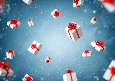 White gift boxes with red ribbon at blue background. Christmas illustration