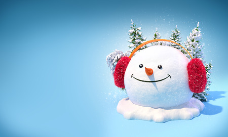 Happy snowman head in a earmuff on a snowdrift on blue background. Unusual christmas illustration. Stock Photo