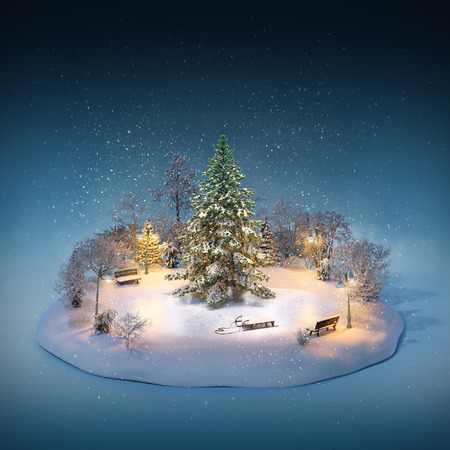 snow drifts: Snowy pine on a ice rink in the park. Unusual winter illustration. Christmas Stock Photo
