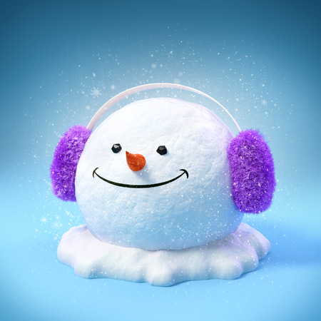 Happy snowman head in a earmuff on a snowdrift on blue background. Unusual christmas illustration. illustration