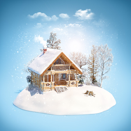 Log house and trees on snowdrift. Unusual winter theme illustration Stock Photo