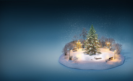 Snowy pine on a ice rink in the park. Unusual winter illustration. Christmas Stok Fotoğraf