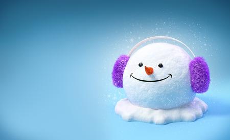 earmuff: Happy snowman head in a earmuff on a snowdrift on blue background. Unusual christmas illustration. Stock Photo