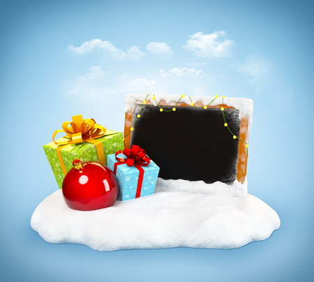 Christmas gift boxes and empty blackboard on snowdrift at blue background. Unusual christmas illustration illustration
