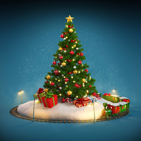 Christmas tree, gifts and railroad on blue background. Unusual Christmas illustration 版權商用圖片