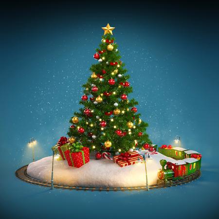 Kerstboom, cadeaus en spoorweg op een blauwe achtergrond. Ongebruikelijke Kerst illustratie