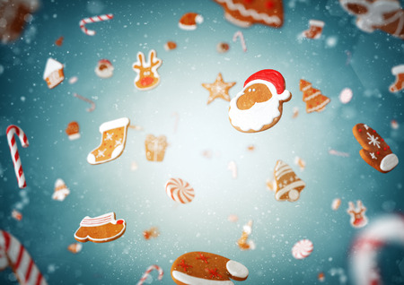 new year's cap: Christmas gingerbreads and candies at blue background. Christmas illustration Stock Photo