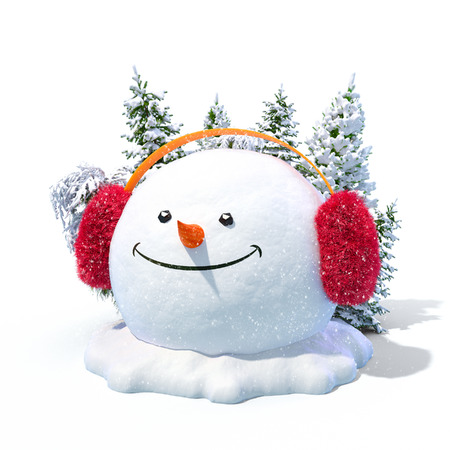 Happy snowman head in a earmuff on a snowdrift at white background. Unusual christmas illustration. illustration