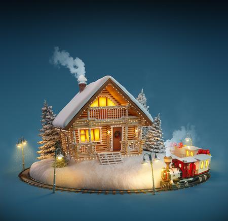 case colorate: Casa di tronchi decorato con luci di Natale e treno magico su sfondo blu. Insolito Illustrazione di Natale