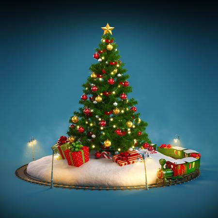 Christmas tree, gifts and railroad on blue background. Unusual Christmas illustration illustration