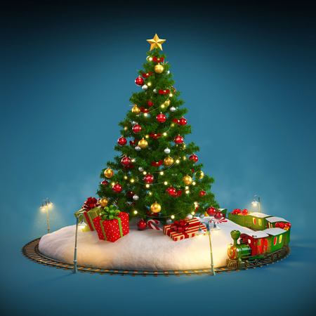 Christmas tree, gifts and railroad on blue background. Unusual Christmas illustration Stock Photo