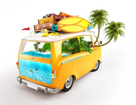 Creatieve illustratie van thema reizen. Minivan met bagage en tropisch eiland binnen. Onderwaterwereld. Stockfoto