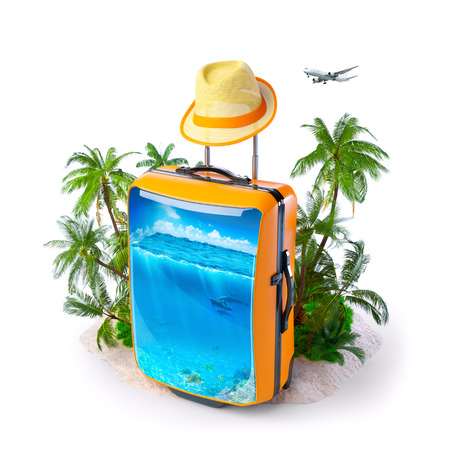 Luggage suitcase with ocean inside. Unusual Tropical background. Traveling Stock Photo