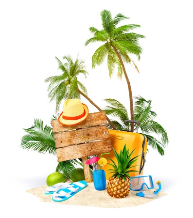travel luggage: Tropical island. Unusual traveling illustration
